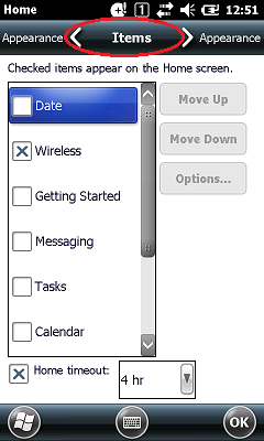 IT-G500 Today Screen Settings